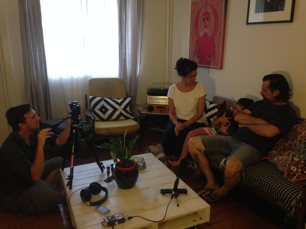 Matt filming Tesha, Mila and Jason