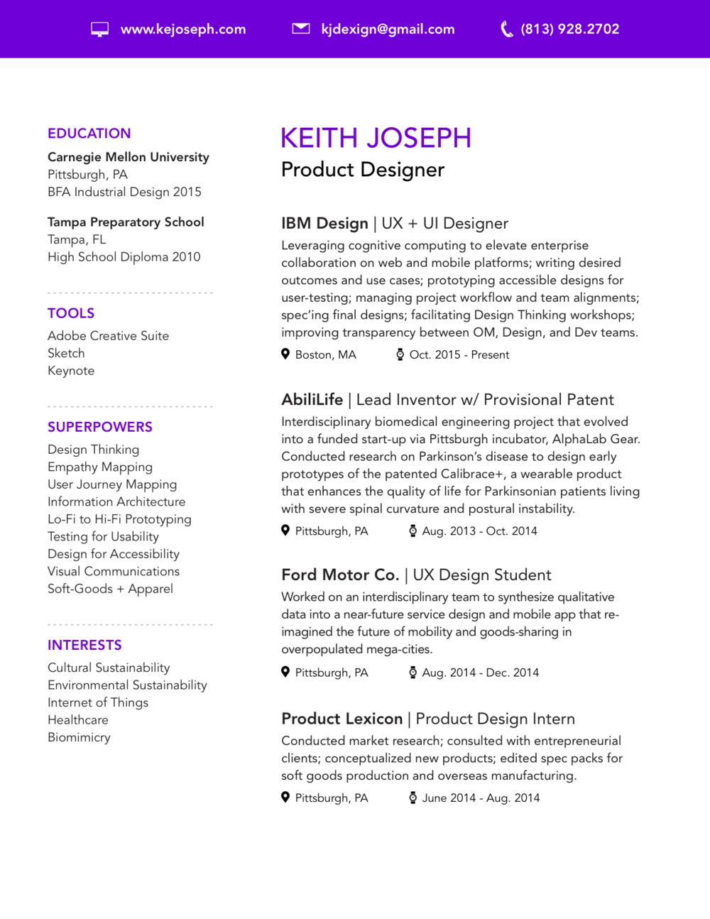 Resume — Keith Joseph