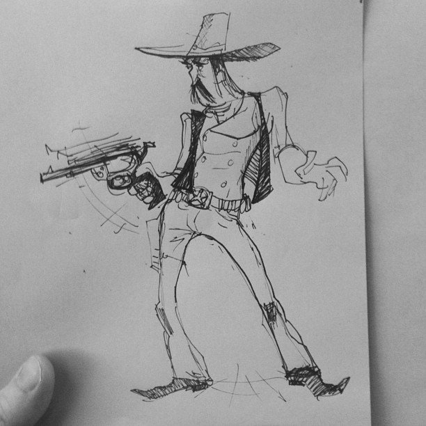 Here is another   #sketch   of some ole cowpoke slingin some lead