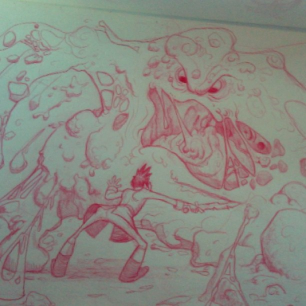 Here is a #sketch of Henwyn vs the cheese monster