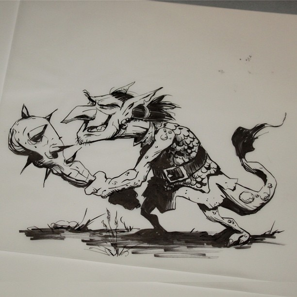 More goblin development, this is brush pen on vellum #inktober day four