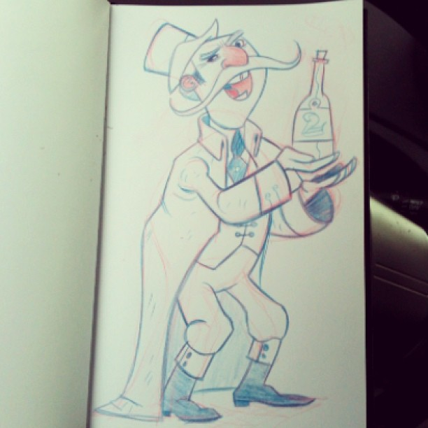 Day four of #nopenver here is a lil lunch sketch of a snake oil salesman:)