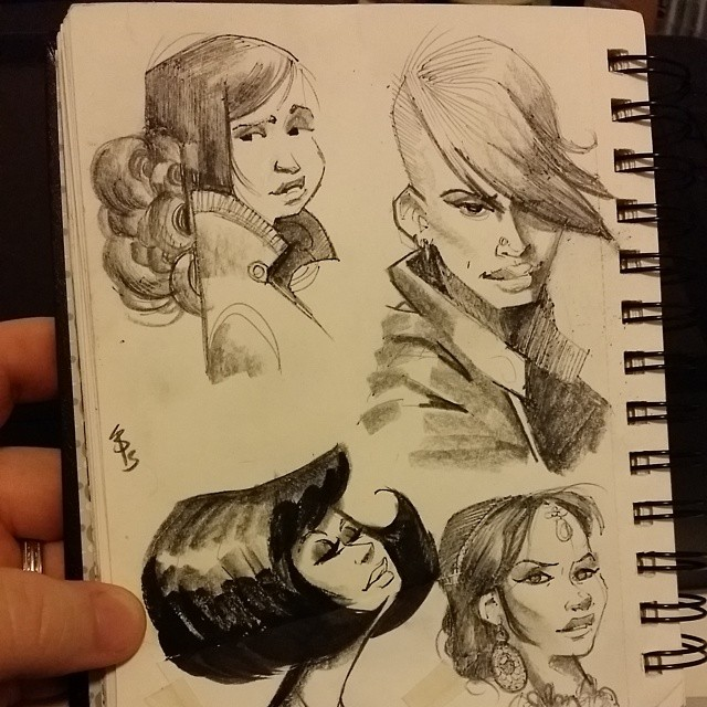 More lady #sketches with fine pen then shading with prismacolors.  Working without an underdrawing is starting to feel more comfortable.