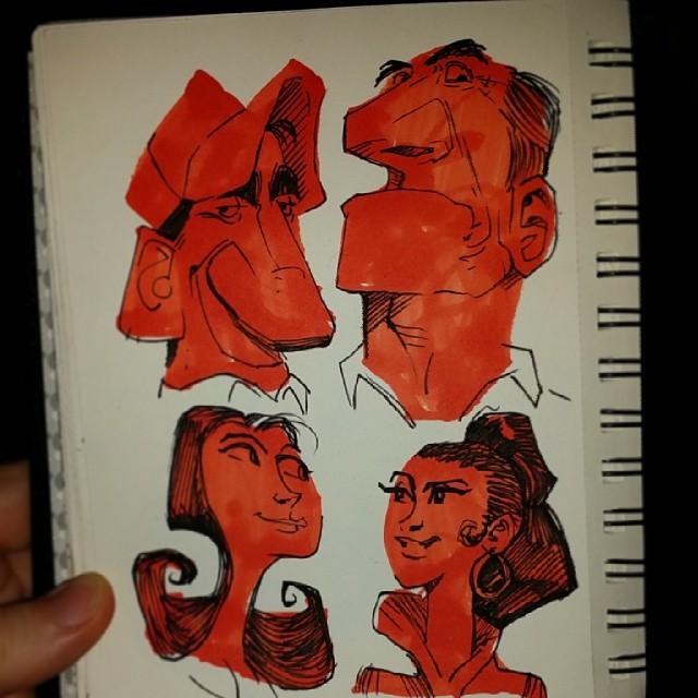 Here are some shape #sketches. I started with marker shapes then created the faces with ink.