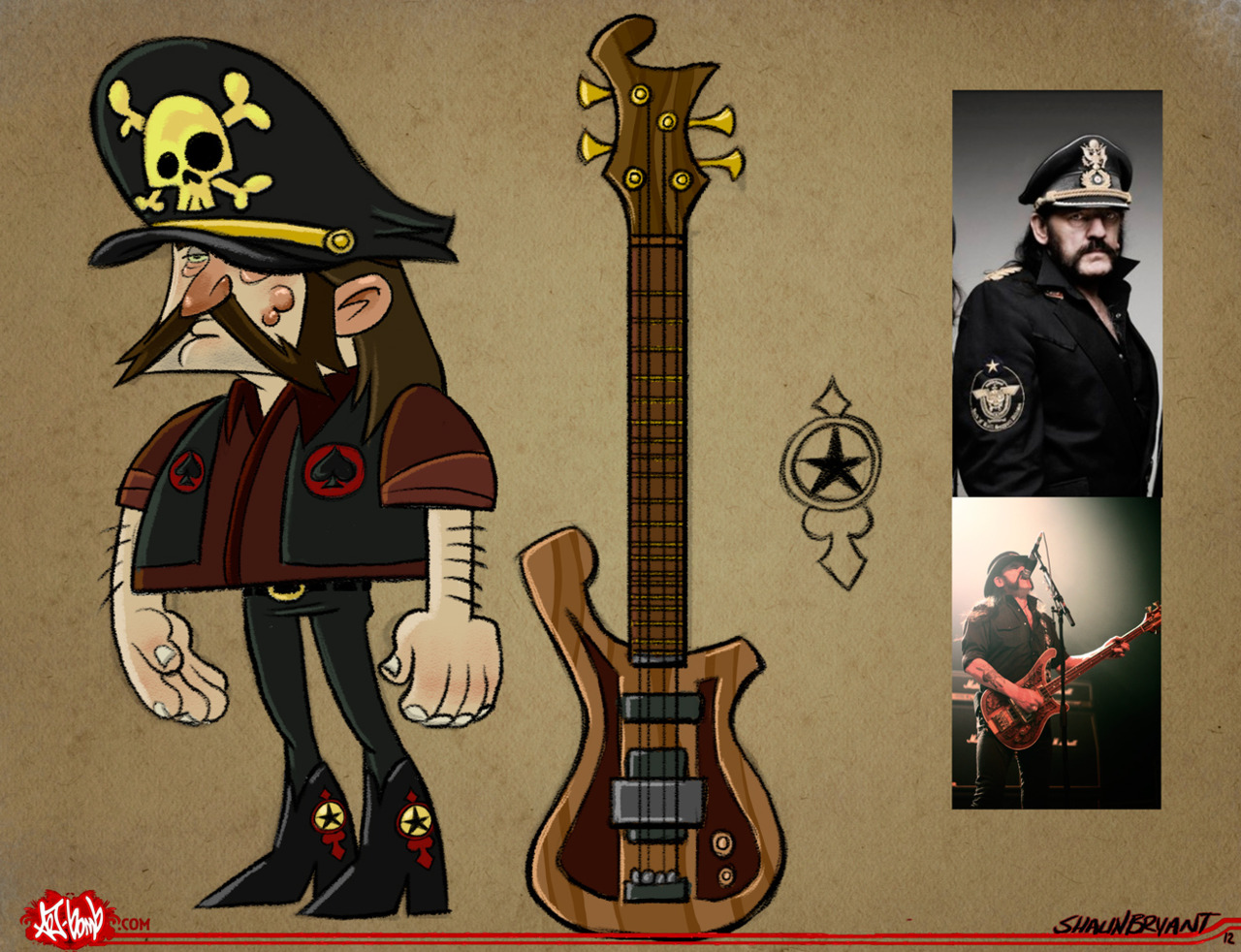 A lil 'toon character of Lemmy Kilmister.
