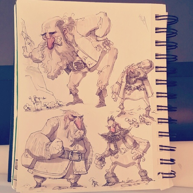 Here are some #sketches of some crusty ole giants from last night.