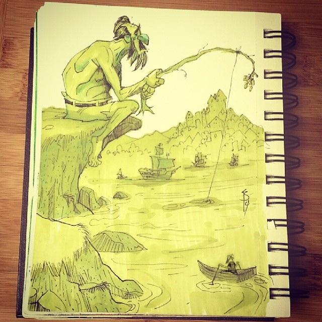 A lil fishing trip for this giant #sketch