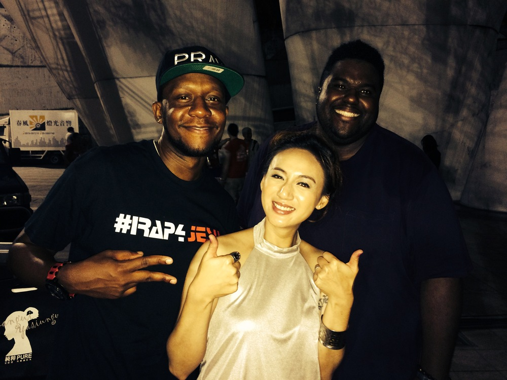 Chinua Hawk with recording artists Obie One Ba and Taiwanese recording artist Lea
