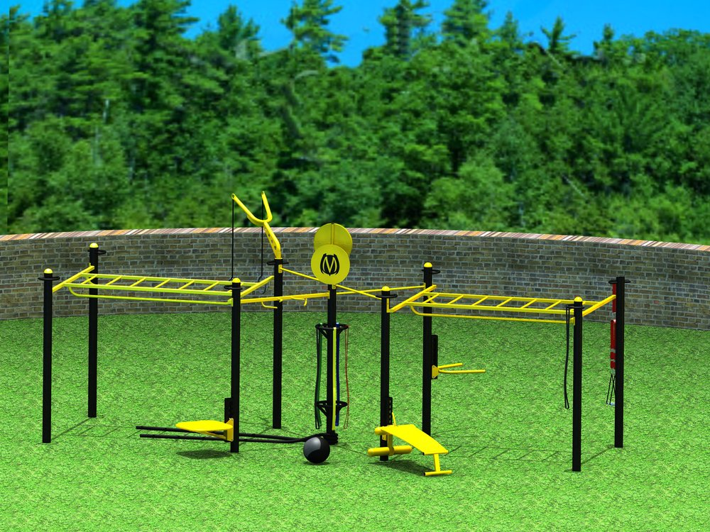 9-Post Double Monkey Bar configuration with single T-Rex and custom colors