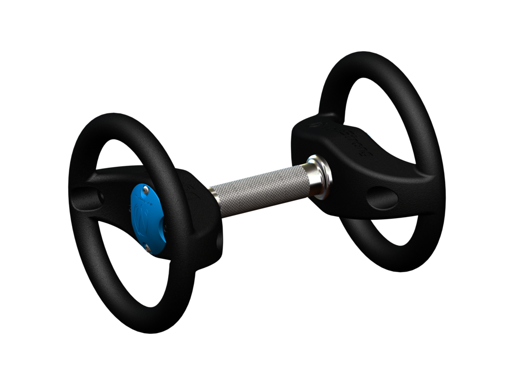 Remove the end handles for a more traditional dumbbell look to the DynaBell. Yet retain the feature of a rotating center handle and the integrated handles on the DynaBell heads.
