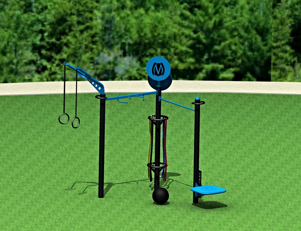 3-Post Design for smaller space outdoor functional fitness