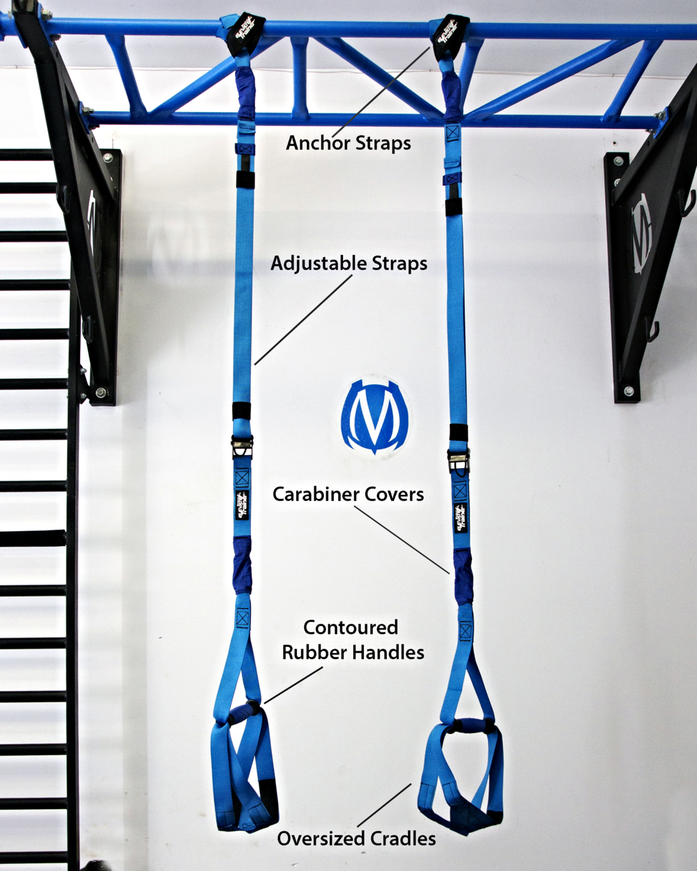 Elevate Trainer contains two independent anchor straps for attaching to a pull-up bar or other secure object above head. The anchor straps connect two adjustable straps to accommodate length changes needed. The two lower handle attachments offer a dual lower strap and cross webbing to create a wider cradle for holding feet and forearms when performing suspended training exercises.