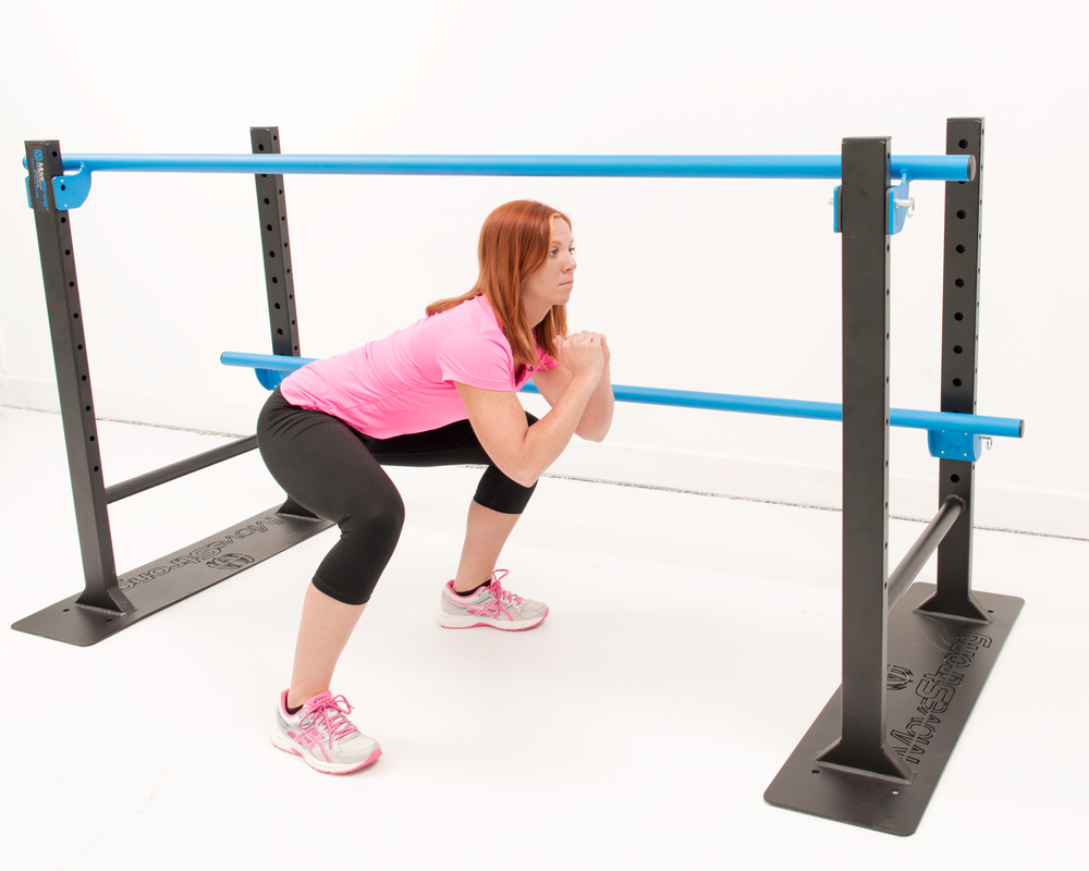 Staggered height adjustments for mobility exercises