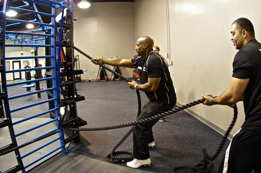 Battle training ropes used on rope ladder