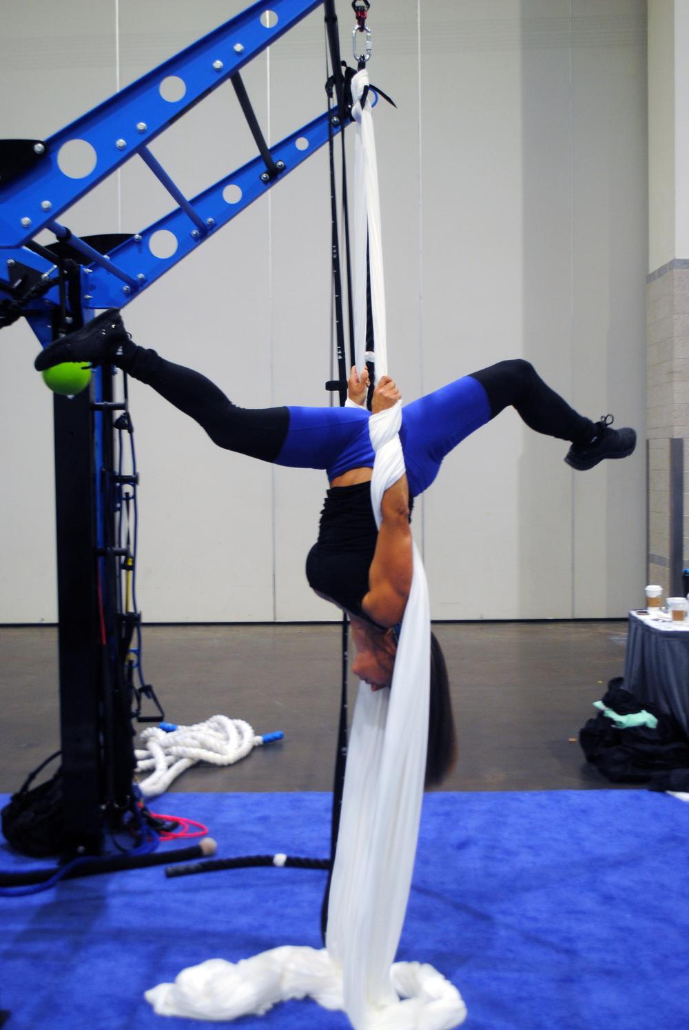 Aerial yoga silks exercise rack