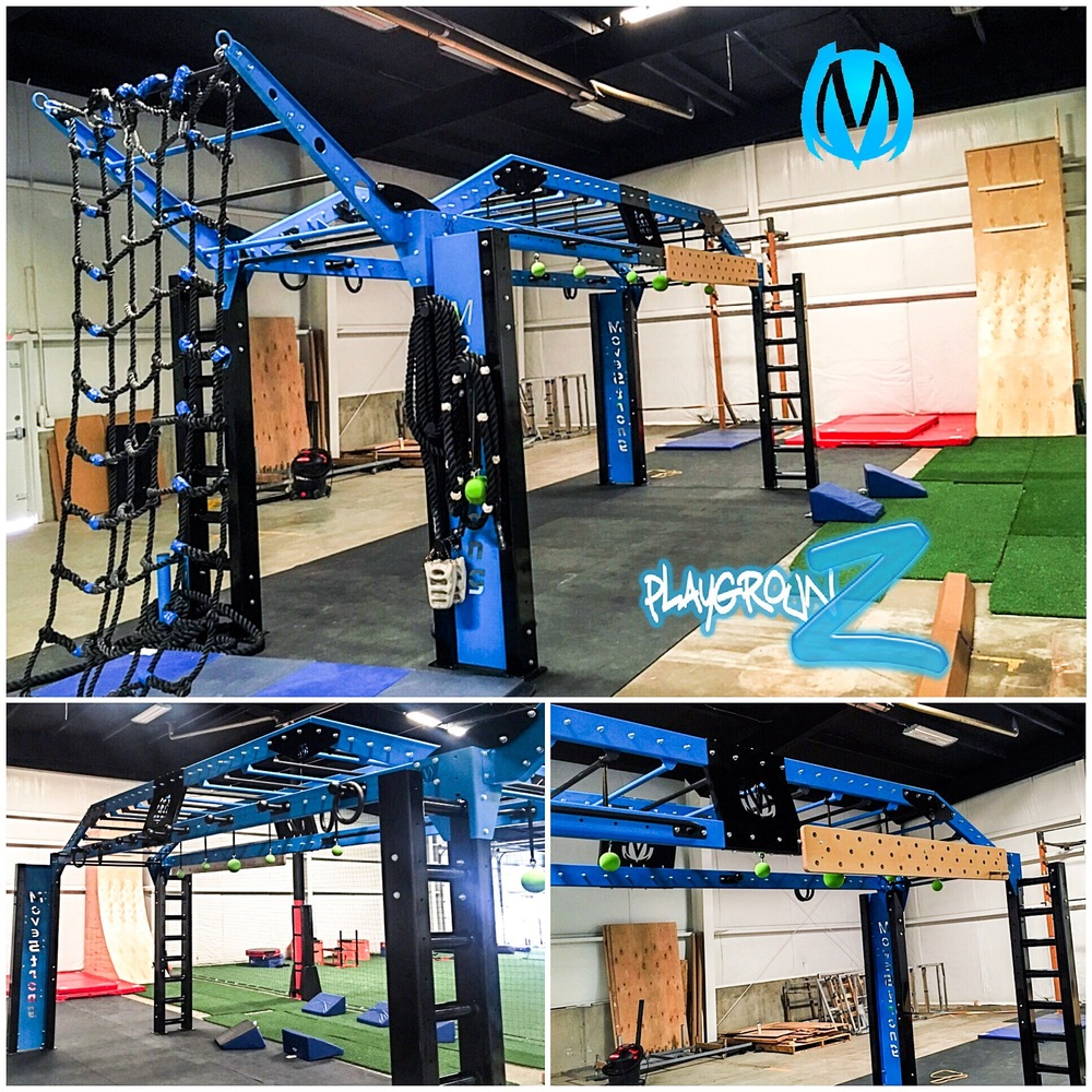 MoveStrong Nova XL Bridge customized with training features like cargo net, peg board, staggered monkey bars, Globe rail ring toss, hanging globes,  rope climb and more.