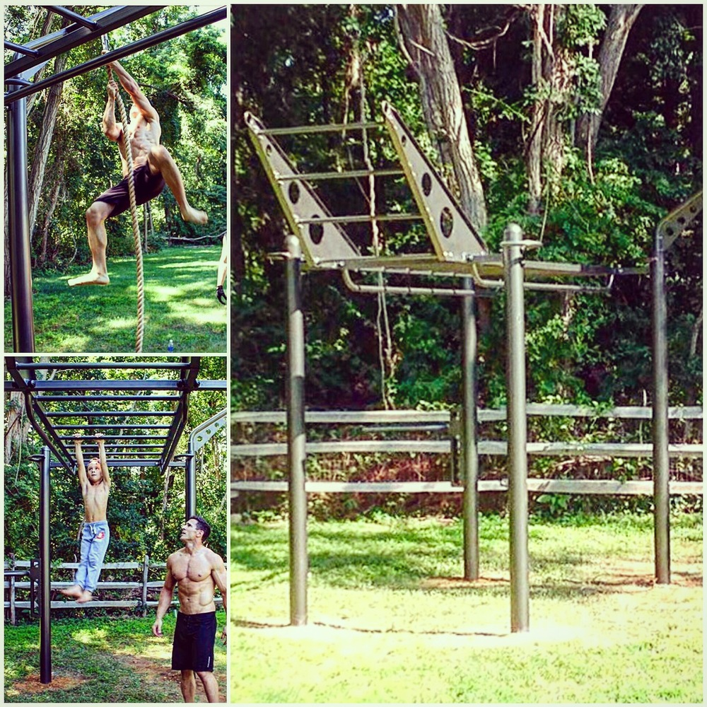 Custom color and new Climber Bar feature for the MoveStrong 4-post T-Rex outdoor functional training station.