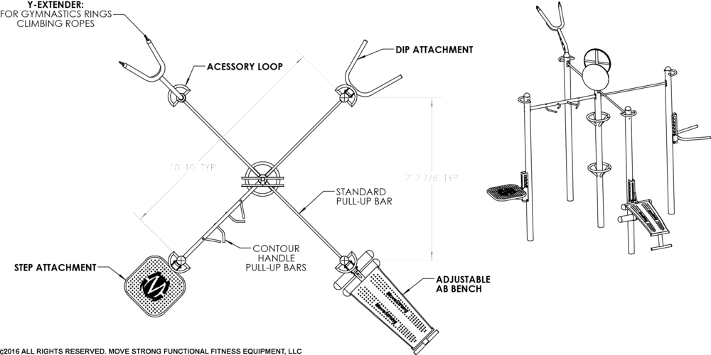 Standard 5-Post T-Rex FTS shown . Dimensions vary based on the configuration and training options selected in creating a T-Rex FTS that fits needs and space.