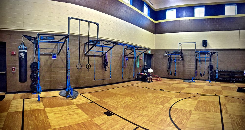 Custom Wall FTS Single Tier with High Post Connector, J-Hook uprights, Z-Bar pull-up connector, Heavy bag and suspension hangers