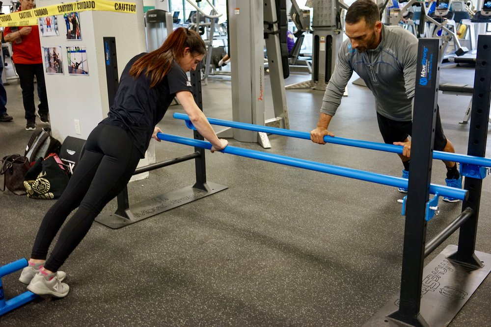 Partner push-ups parallel bars