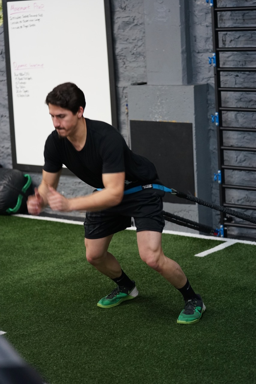 Power broad jumps with band resistance