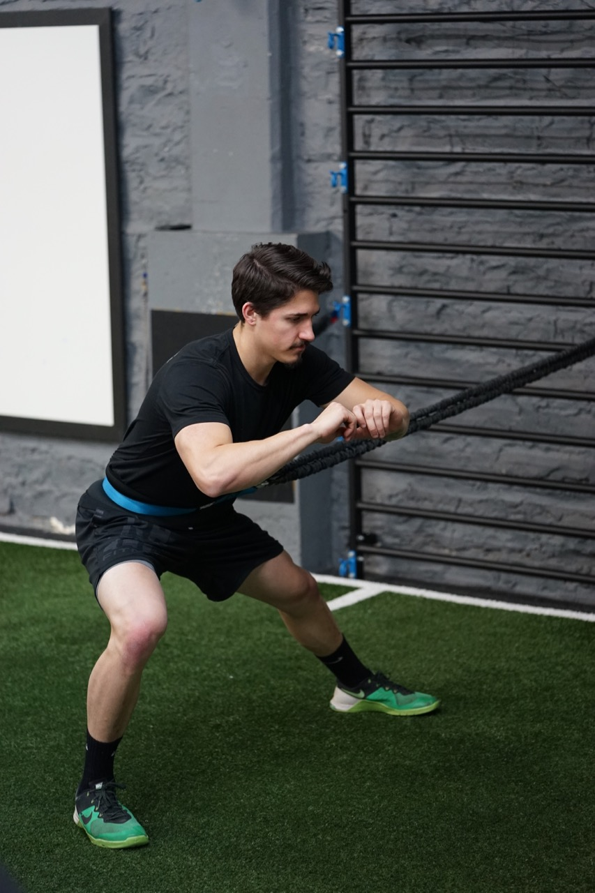 Lateral lunge with band assist