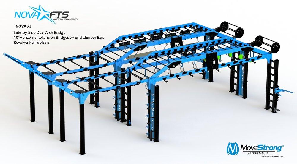 Custom build with extended monkey bar bridges