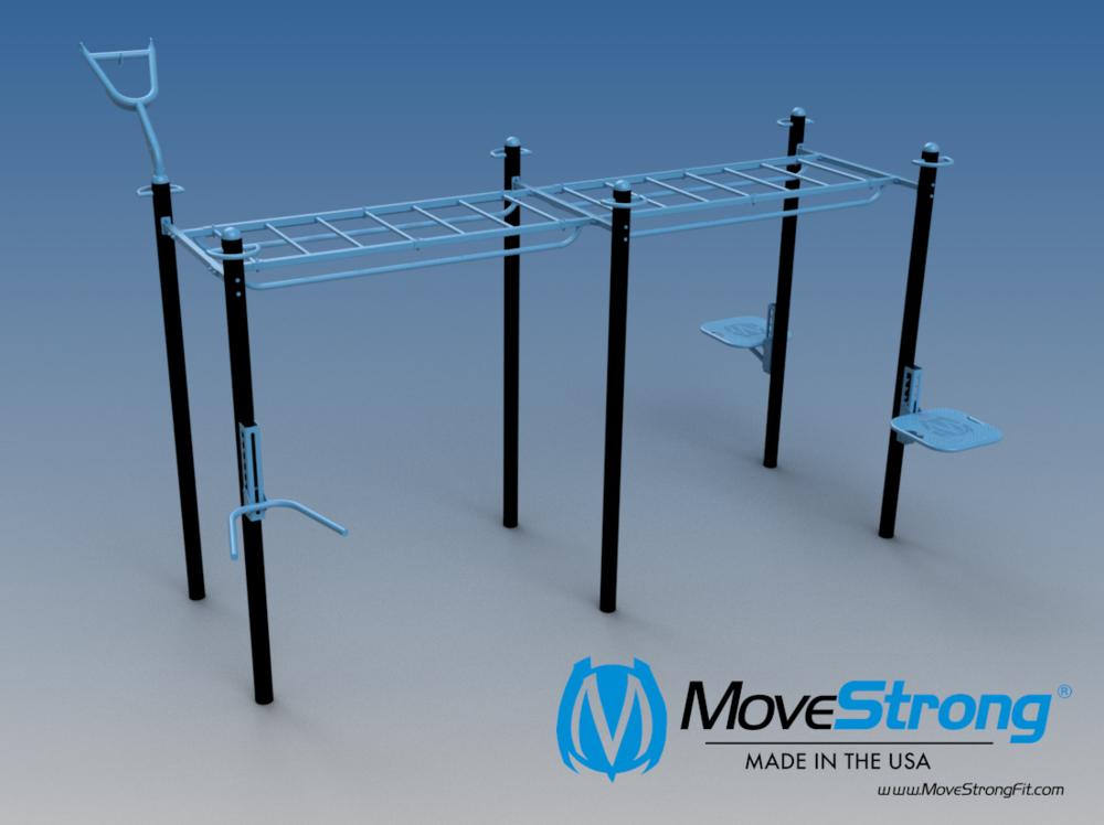 6-Post Double Monkey Bar Bridge. Modular in size