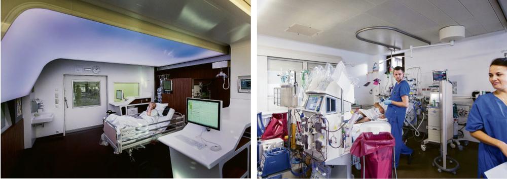Ein Unterschied wie Tag und Nacht: Das von Architekten und Mediengestaltern entwickelte Modellzimmer an der Berliner Charité soll Geborgenheit vermitteln (links). In konventionellen Zimmern auf Intensivstationen hingegen (rechts) fühlen sich Patienten oft hilflos.