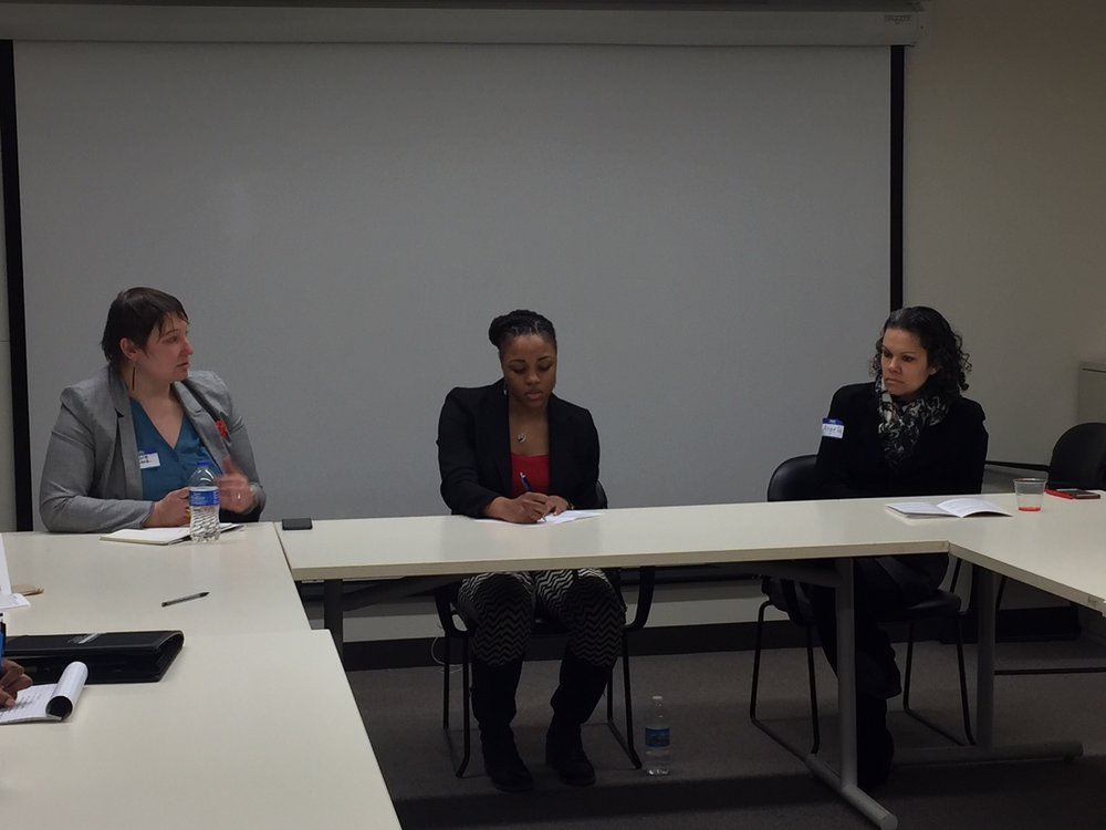 Chyanne alongside panel members Tiara Hughes, middle, works at Gensler and Angela King, right, (NOMAS advisor and Project Manager at Facilities & Services at UIUC).