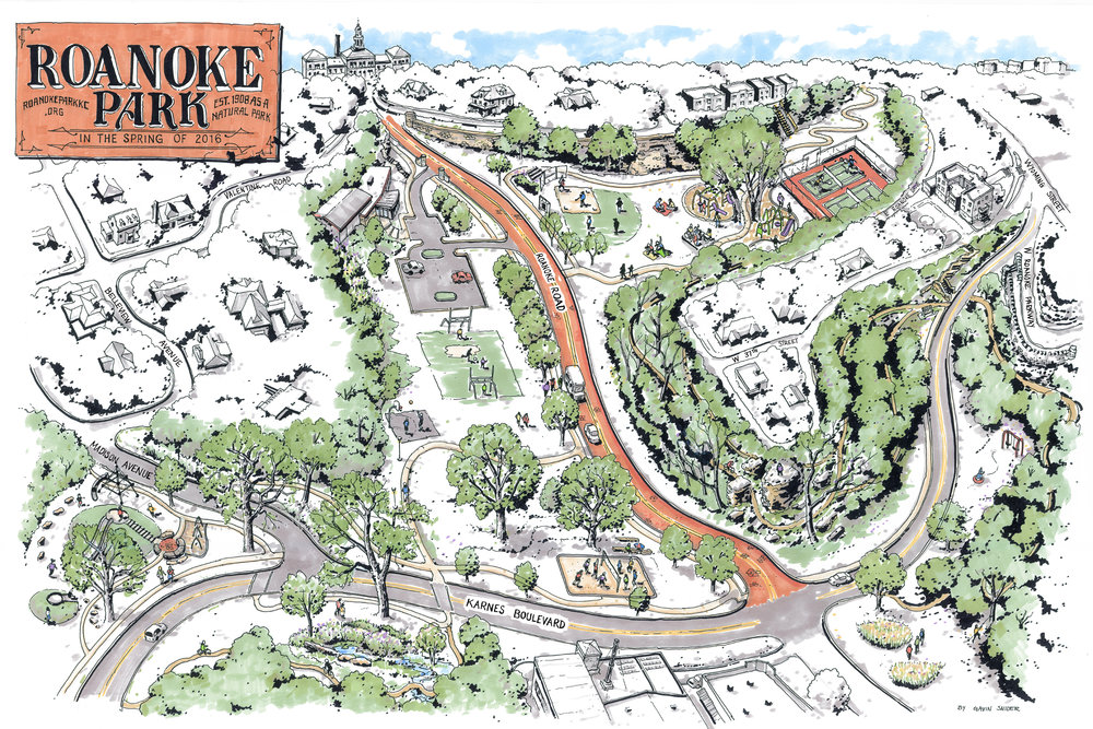 Illustrated Map of Roanoke Park