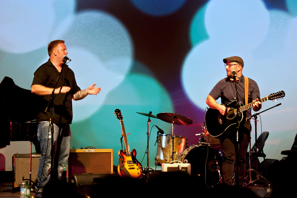 Tomi Swick with Mike Maas onstage at The Zoetic July 12, 2014.