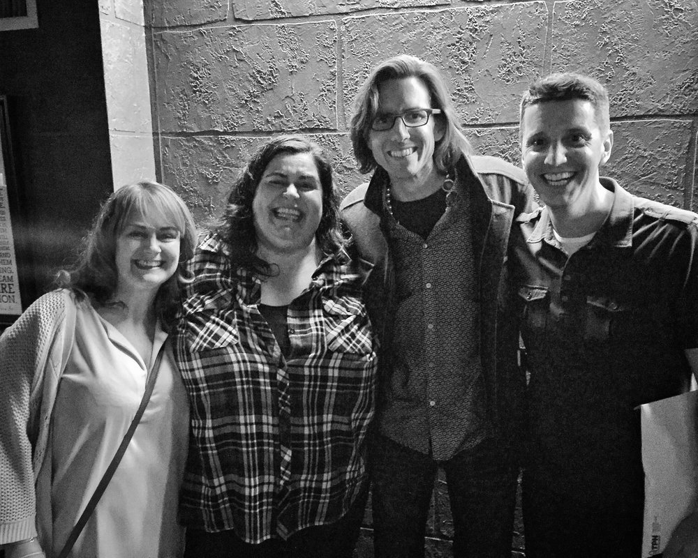 Comedians Debra DiGiovanni (2nd from left) and Ted Morris (far right) with a couple fans