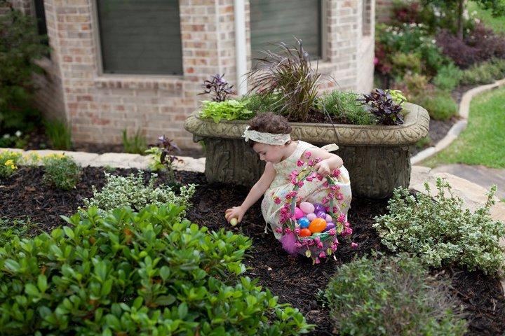 Egg hunting in DeeDee'sgarden.