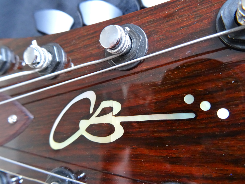 Ron's is the first guitar to get the brand-new CB Hill logo on it.