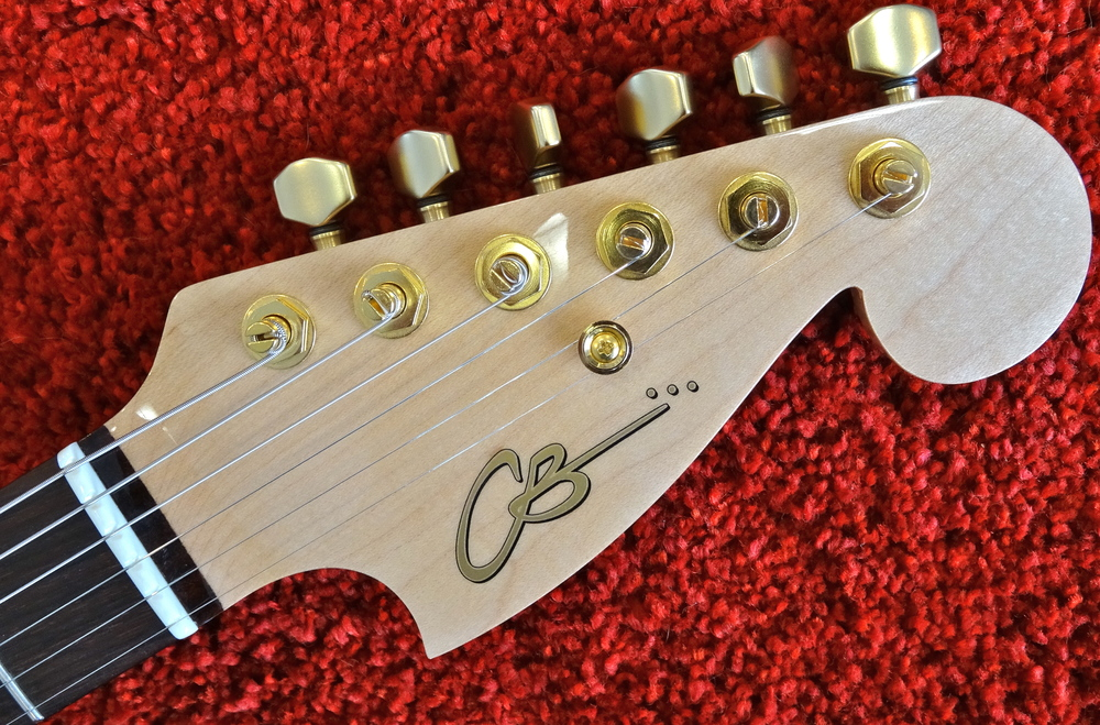 Revitalizing a Southern California classic with this headstock shape, and CB's minimal-friction nut keeps the strings moving!