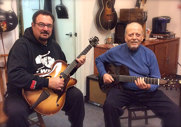 Les Wise and Ron Escheté at the shop jamming on CB Hill guitars. Les is playing a Corvette, and Ron is playing his custom 7-string 2-5-1.