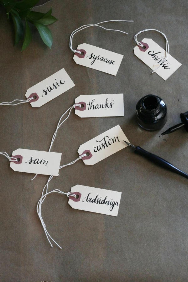 Place Cards calligraphy by bedsidesign.  Photo styling: Frock