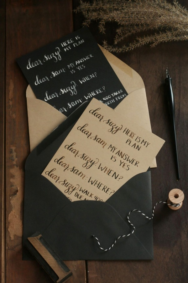 Wes Anderson Moonrise Kingdom quote in calligraphy by bedsidesign.  Photo Styling: Frock