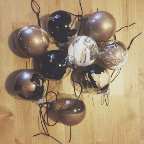 DIY abstract Christmas ornaments in black white and gold paint