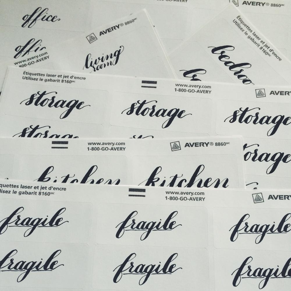 bedsidesign calligraphy moving labels