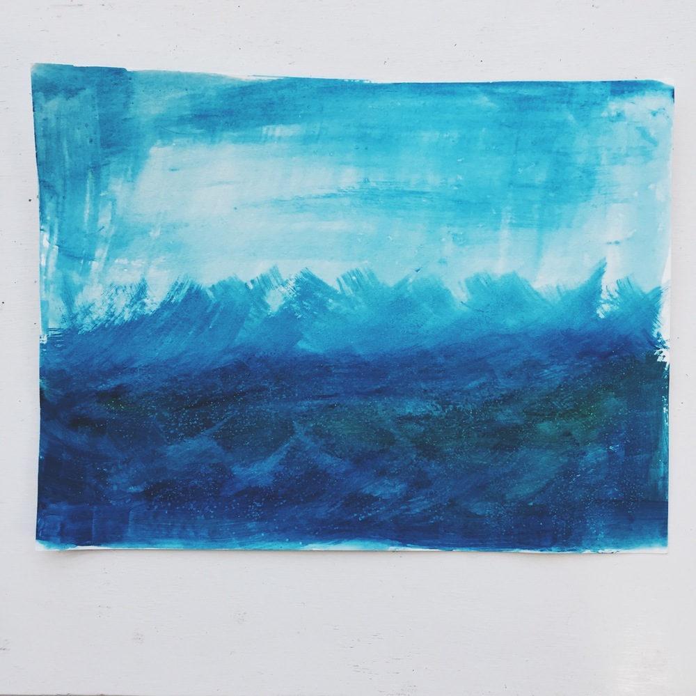 WAVES WATERCOLOR BY CHRISTIE JONES OF BEDSIDESIGN