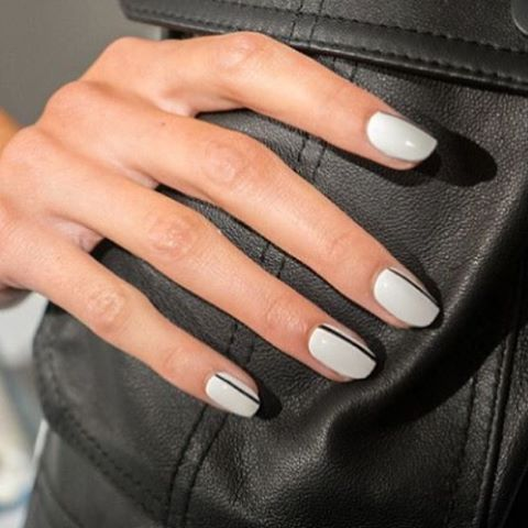 #instanails #eyeofja I like this light blue-grey color by OPI with this simple black stripe, super chic for Fall