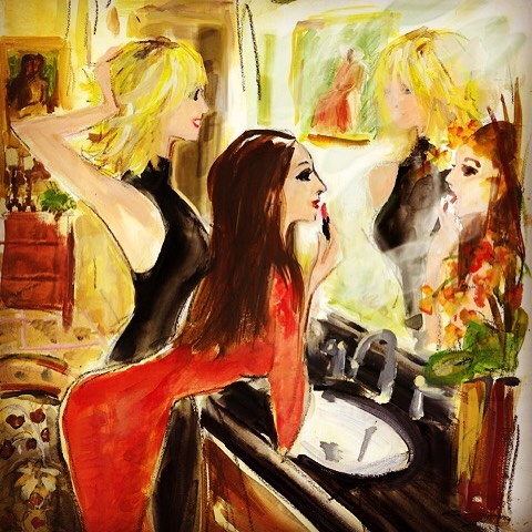 Amazing painting by Andrea Selby commissioned by my amazing dad! She really captured the essence of my sister (@sweetapplej) and me in our happy place (in front of a mirror), looking glam and feeling fabulous. ❤️😍💄