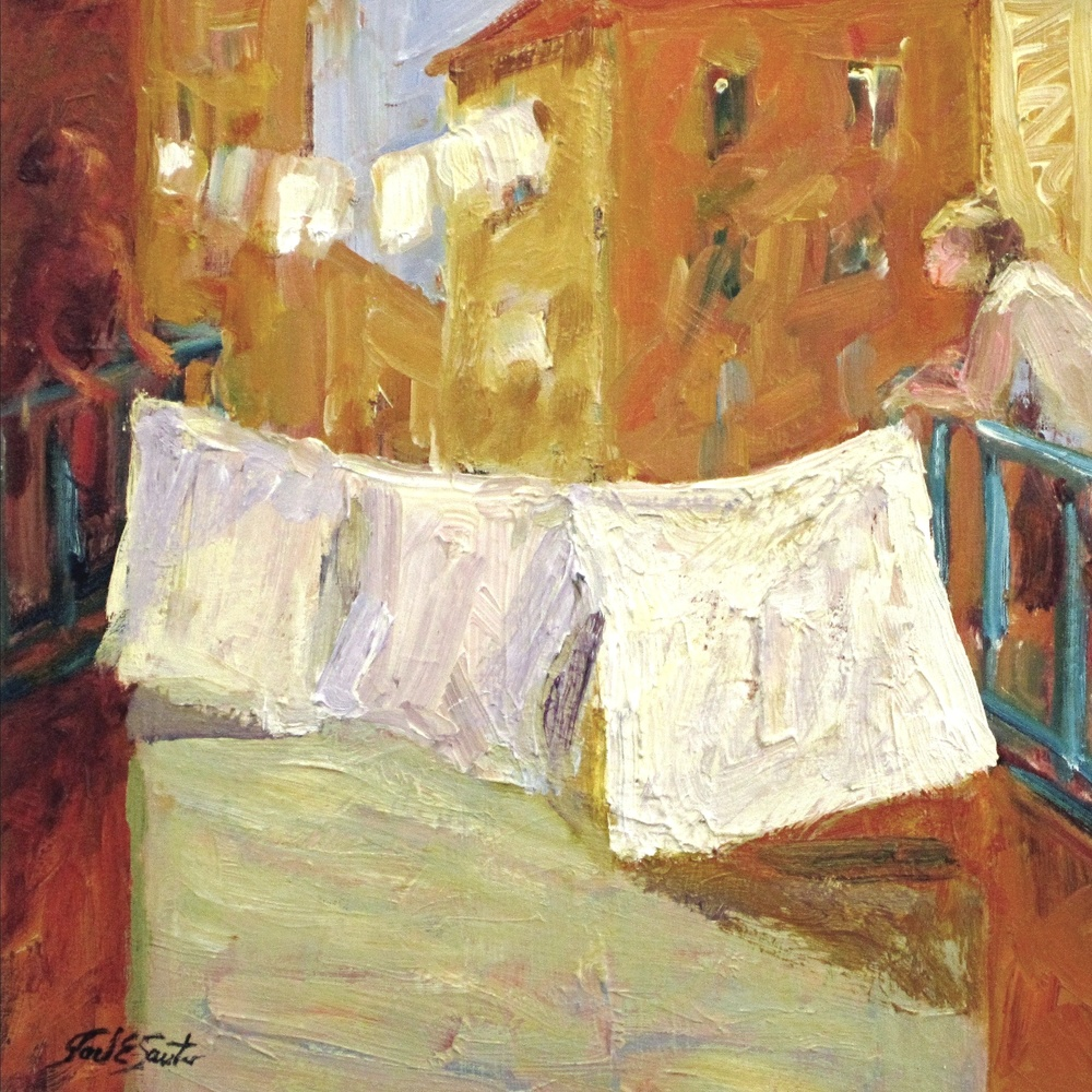 Laundry and Gossip (Oil 14x14)