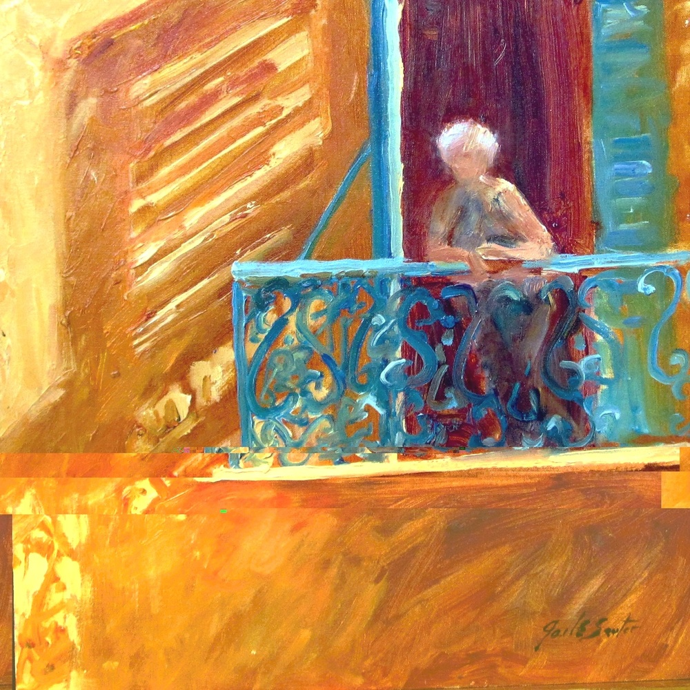 Balcony Sunshine (Oil 14x14)