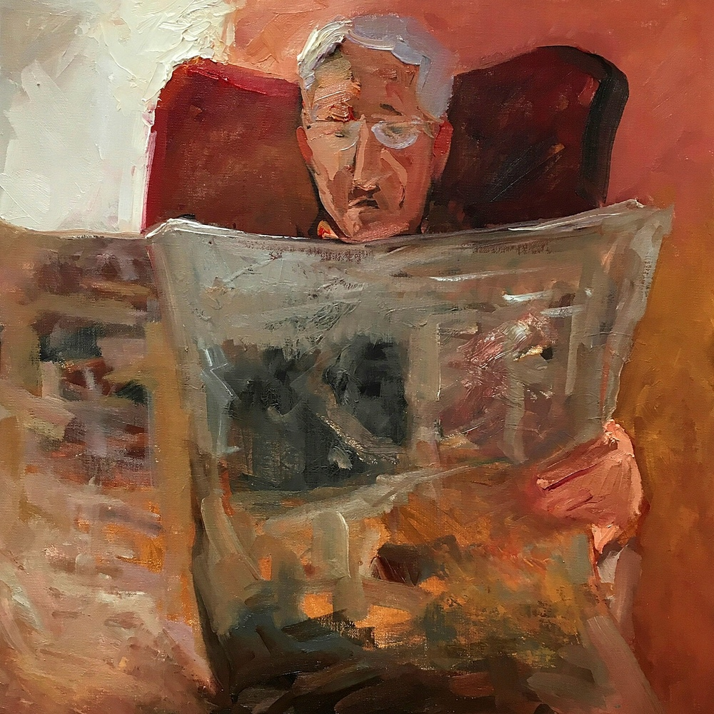 Election Year News (Oil 14x14)