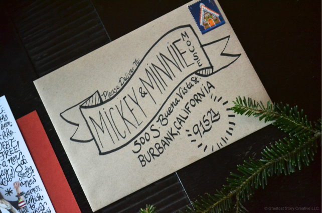Hand-lettered Christmas Card Envelopes - Greatest Story Creative (www.greateststorycreative.com)