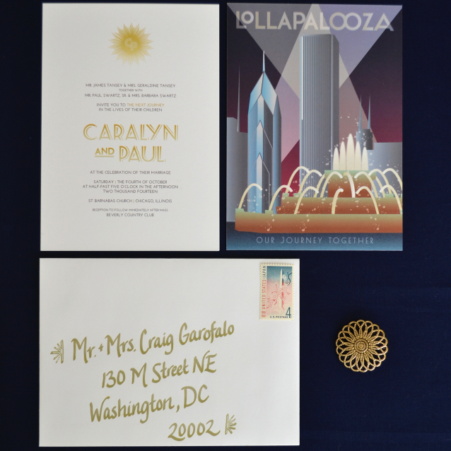 Modern Art Deco Wedding Invitations with Four Variations