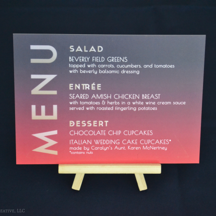 Free-Standing Menus for each table